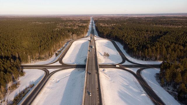 Picturesque scenery of transport interchange in winter