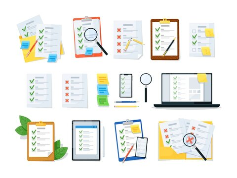 Clipboard checklist, online check list or document set. Business task or questionnaire form with checkmark, folder, magnifier, pencil, digital device vector illustration isolated on white background