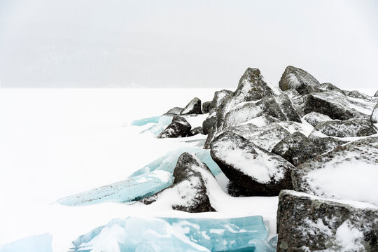 Minimalistic snow landscape