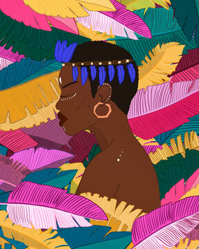 Picture of an African girl on a background of bright leaves