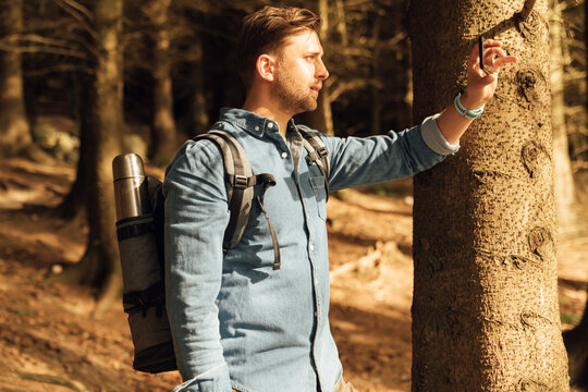 Mid adult man photographing with mobile phone while standing in forest
