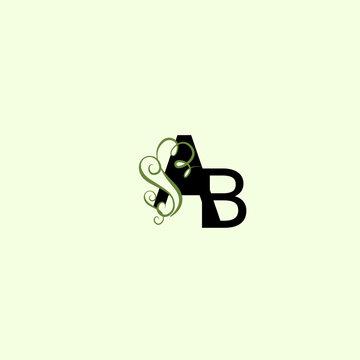 LOGO GRREN, letter ab, ba logo leaf, nature logo