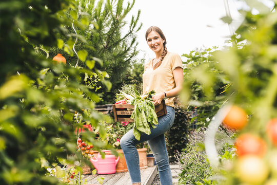 Smiling beautiful woman carrying crate while working in vegetable garden