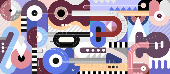 Colored geometric style design with different musical instruments, vector illustration. Abstract art composition of guitars, trumpet, saxophone and geometric shapes.