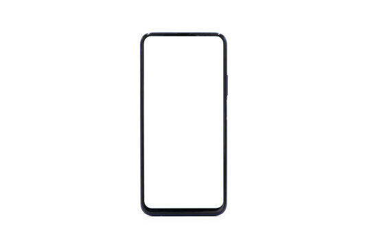 A black border smart blank phone isolated on a white background