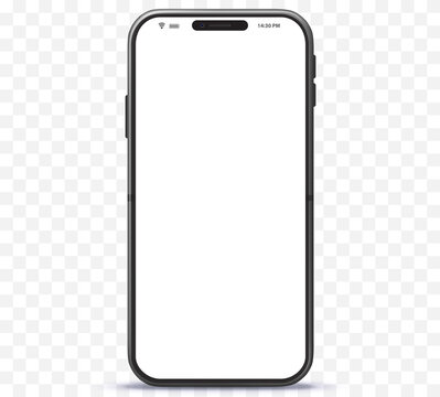 Mobile Phone Vector Mockup With White Screen. Easy editable smartphone illustration isolated on transparent Background.