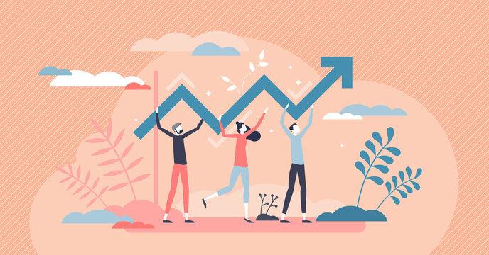 Progress development as success improvement and growth tiny person concept
