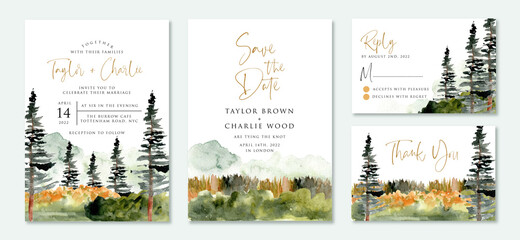 wedding invitation suite with wild nature landscape watercolor