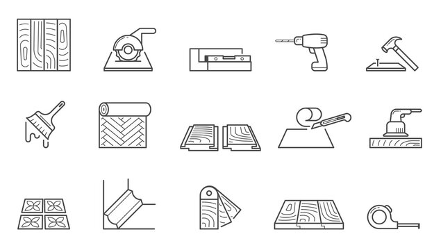 Home repair icons set. Wallpapering and installing laminate flooring polishing wooden floors laying tiles sawing tiles size and laying skirting boards nailing planks and false ceilings. Vector icon.