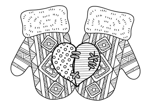 Vector christmas coloring page for adults. Knitted mittens on white background. Elements for Christmas templates, cards and invitation