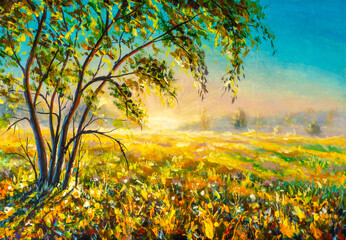 Oil painting with acrylic Beautiful tree on sunny summer spring meadow in morning first rays of sun sunset. Morning gentle misty rural landscape nature modern art.