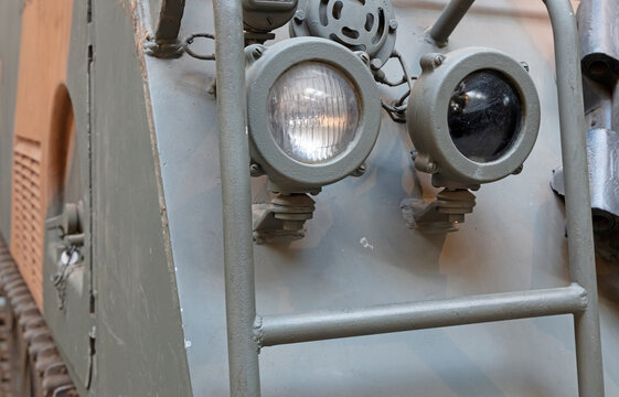 Front lights of an old tank