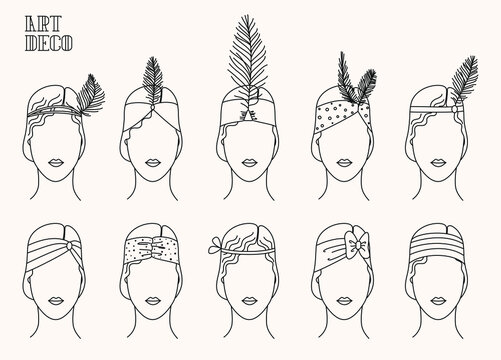 Art Deco set of thin line illustrations of women.  Stylish vintage icons. 20's and 30's roaring vintage style. Glamour retro design elements.