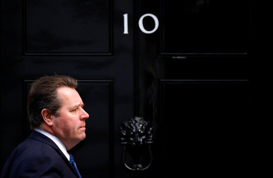 Britain's Conservative Party Chief Whip Mark Spencer arrives at Downing Street, in London