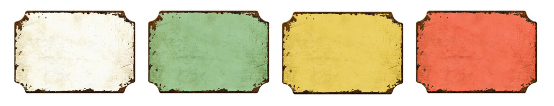 Four empty vintage tin signs on a white background