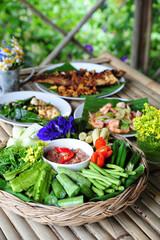 Obraz Shrimp-paste sauce/ Fried mackarel with shrimp-paste sauce, Shrimp Paste Chilli Sauce (Nam Prik Ka Pi) serve with Fried Mackerel Cha-OM-plated egg and vegetable set, Thai Food, on white background. - fototapety do salonu