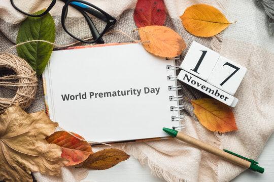 World Prematurity Day day of autumn month calendar November