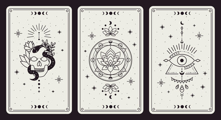 Magic occult cards. Vintage hand drawn mystic tarot cards, skull, lotus and evil eye magical symbols, magic occult cards vector illustration set. Esoteric, astrological elements for prediction
