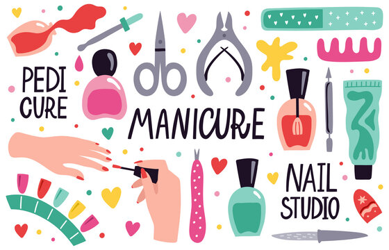 Doodle manicure equipment. Nail manicure tools, scissors, nail polish, tweezers and nail file, manicure accessories vector illustration set. Beauty salon, fingernails care and treatment