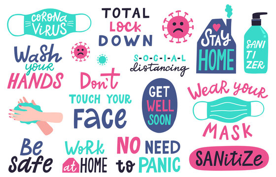 Coronavirus lettering. Covid-19 epidemic disease prevention lettering, hand washing, avoid touching face quotes sticker vector illustration set. Stay home, wearing mask, sanitizing