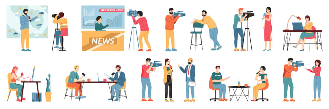 Media TV journalists. Talk show hosts, news presenters and broadcast journalist, television industry videographers crew vector illustration set. Weather forecast and breaking news hosts
