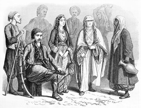 Anatolian people posing in traditional muslim costumes. Turbans, veils and sabers. Ancient grey tone etching style art by Grandsire after Dauzats, Le Tour du Monde, Paris, 1861