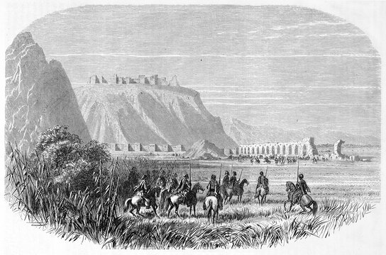 Horseback turkish soldiers on vast grassland. Anazarbus aqueduct and Anavarza castle in background, Cilicia, Turkey. Ancient grey tone etching style art by Grandsire, Le Tour du Monde, Paris, 1861