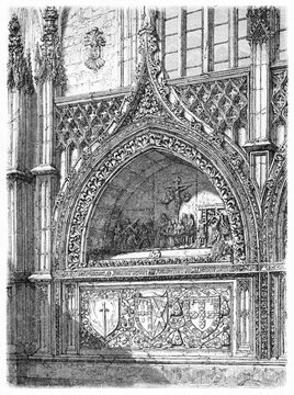 Antique stone bas-relief sculpted tomb in the Monastery of Batalha, Portugal. Ancient grey tone etching style art by Catenacci, Le Tour du Monde, Paris, 1861