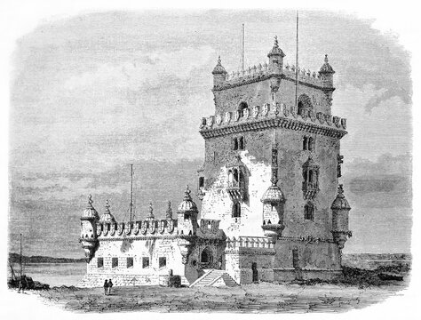 Front view of manueline style monument Belém, Tower, Portugal, on mouth of Tagus river. Ancient grey tone etching style art by Therond, Le Tour du Monde, Paris, 1861