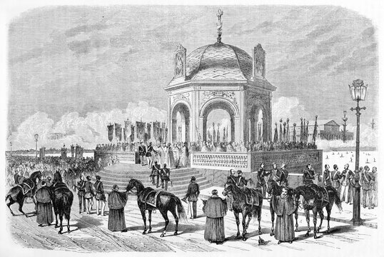 Benediction of the Water, Russian traditional religious ceremony, outdoor under a gazebo shape monument. Ancient grey tone etching style art by Therond, Le Tour du Monde, Paris, 1861