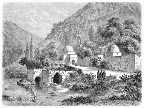 Maronite patriarche arabian style architecture residence in Canoubin (?), Lebanon, surrounded by nature. Ancient grey tone etching style art by Lancelot, Le Tour du Monde, Paris, 1861