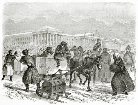 Russian men outdoor in winter carrying ice on a sleigh in Saint Petersburg, Russia. Ancient grey tone etching style art by Blanchard, Le Tour du Monde, Paris, 1861
