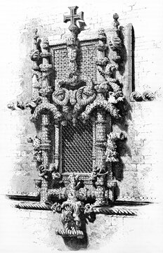 Gothic and manueline architectural detail of window Sala do Capitulo (Chaptershouse), in the Monastery of Batalha, Portugal. Ancient grey tone etching style art by Therond, Le Tour du Monde 1861