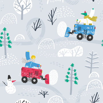Cute animals clean the road from snow in the forest. Winter forest. Childish seamless pattern. Winter background.