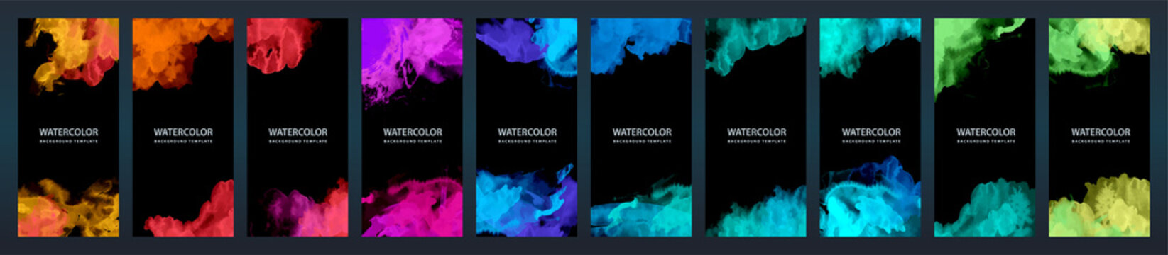 Big set of bright vector colorful watercolor on vertical black background for flier or brochure