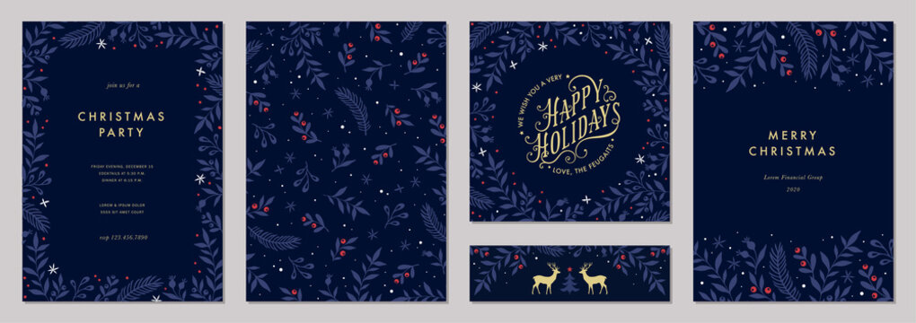 Modern universal artistic templates. Merry Christmas Corporate Holiday cards and invitations. Floral frames and backgrounds design. Vector illustration.