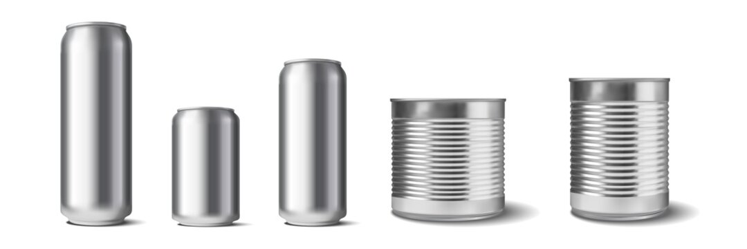 Realistic aluminium cans set. Collection of realism style drawn metal containers mockups for drinks or beverages. Illustration of different shape size and volume steel tins for lemonade soda template.