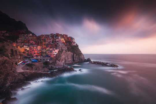 Cloudy sunset above Manarola, village in the heart of the cinque Terre National Park