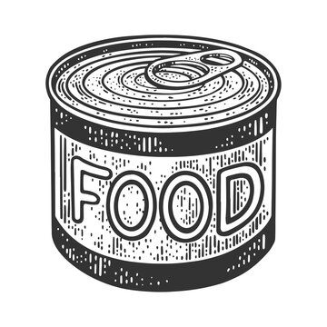 canned food tin sketch engraving vector illustration. T-shirt apparel print design. Scratch board imitation. Black and white hand drawn image.