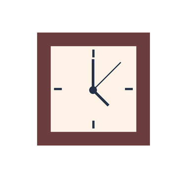 Square clock isolated wall watch showing 5 oclock. Vector time measurement device, alarm with minute, second and hour pointers, retro antique timer