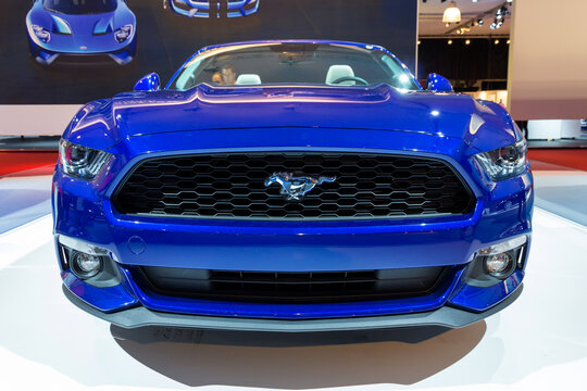 Ford Mustang at the AutoRAI 2015. The edition is marking the fiftieth anniversary of the Ford Mustang, which was revealed in 1965.AMSTERDAM - APRIL 16, 2015.