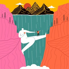Fototapeta Huge man who acts as bridge for girl across canyon with waterfall. Mountains and sun in background. Concept design of support, love, friendship, psychological help, overcoming fears. Romantic print obraz