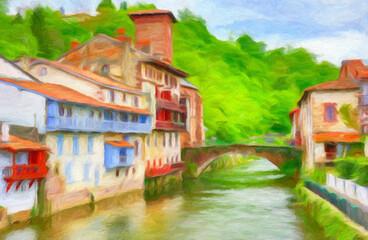 Impressionnisme. Saint-Jean-Pied-de-Port, Le pont romain sur la Nive de Béhérobie. Pays Basque. Département des Pyrénées-Atlantiques