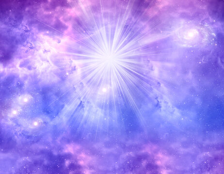 abstrac angelic religious spiritual magic background with sky and clouds, rays of light and purple, pink, blue tonality