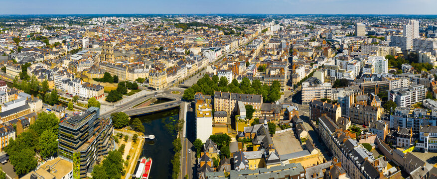 Panoramic view of Rennes city with modern apartment buildings , administrative center of Brittany region, France..