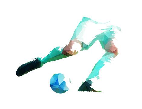 Soccer player kicking ball, legs and ball, low polygonal isolated vector illustration. Geometric football logo