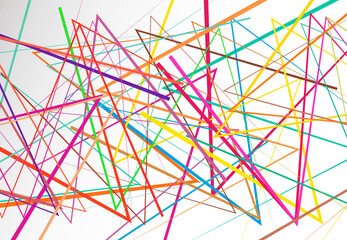 Edgy, angular lines abstract vector art. Abstract zig-zag; criss-cross, wavy intersected lines, strips colorful-multicolor background; pattern and texture Wall mural