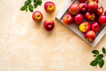 Photo sur Plexiglas Dinosaurs Ripe red apples with leaves - top view, copy space