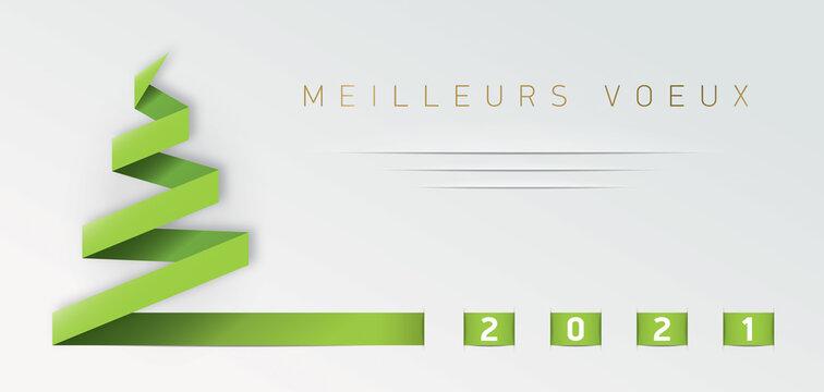 CARTE DE VOEUX 2021 AVEC SAPIN EN PAPIER VERT