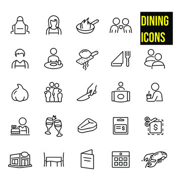 Dining Thin Line Icons - Editable Stroke stock illustration.  restaurant, eating out, fine dining, apron, waiter, waitress, frying pan, cooking, two people on date, eating, lemon zester, place setting